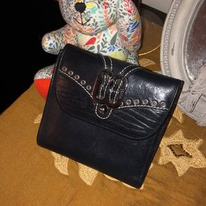 VINTAGE BOSCA BLACK LEATHER WITH SILVER WALLET